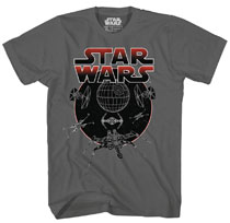 Image: Star Wars T-Shirt: Circle Space [Charcoal]  (XXL) - Mad Engine