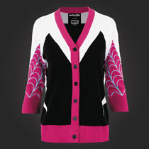 Image: Marvel I Am Spider-Gwen 3/4 Sleeve Cardigan Sweater  (L) - Mighty Fine