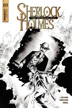 Image: Sherlock Holmes: The Vanishing Man #3 (cover C incentive - Cassaday B&W) (20-copy) - Dynamite