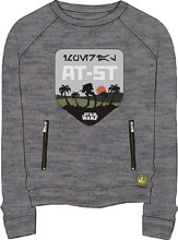 Image: Star Wars: Rogue One Raglan Pullover - AT-ST Imperial Patch [Heather Steel]  (XL) - Mighty Fine
