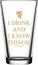 Image: Game of Thrones Pint Glass: I Drink and I Know Things  (16 ounce) - Pb Licensing
