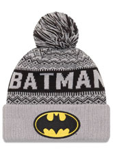 Image: DC Comics Wintery Pom Knit Beanie: Batman  - New Era Cap Co