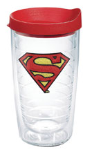 Image: DC Comics Tumbler: Superman  (w/Red Lid) (16-ounce) - Tervis Tumbler Co.