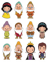 Image: Disney Snow White Cut Figural Keyring 24-Piece Blind Mystery Box Display  - Monogram Products