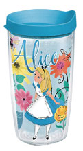 Image: Disney Tumbler: Alice in Wonderland  (w/Light Blue Lid) (16-ounce) - Tervis Tumbler Co.