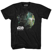 Image: Star Wars T-Shirt: Dripping Death Star [Black/White Confetti]  (S) - Mad Engine