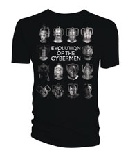 Image: Doctor Who T-Shirt: Cybermen Evolution [Black]  (XL) - Titan Books Uk