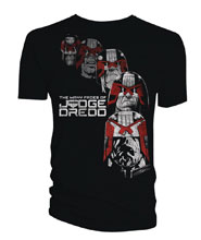 Image: Judge Dredd T-Shirt: Many Faces of Dredd [Black]  (M) - Titan Books Uk