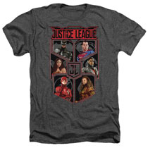 Image: Justice League T-Shirt: League of Six [Heather]  (XL) - Trevco Sportswear