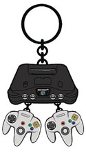 Image: Nintendo Keychain: Nintendo 64 Console and Controllers  - Bioworld Merchandising