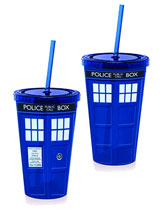 Image: Doctor Who Tumbler: Tardis Full Color Lidded  -