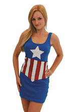 Image: Marvel Graphic Tank Dress: Captain America  (XL) - Costume Agent