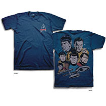 Image: Star Trek T-Shirt: Cast [Navy]  (L) - Freeze Cmi