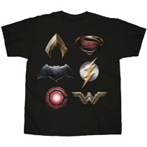 Image: Justice League T-Shirt: Logos Stacked [Black]  (XXL) - Changes