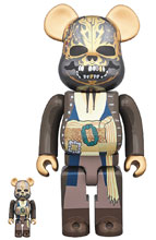 Image: Pirates of the Caribbean: Dead Man Tell No Tales Jack Sparrow Bearbrick: 100 & 400 2-Pack  - Medicom Toy Corporation