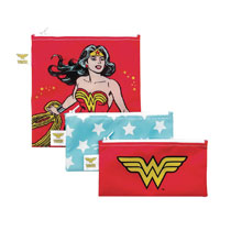 Image: DC Comics Reusable Snack Bag Set: Wonder Woman  (3-Pack) - Bumkins Finer Baby Products