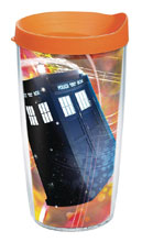 Image: Doctor Who: Time Lord 16-ounce Tumbler  (w/Orange Lid) - Tervis Tumbler Co.