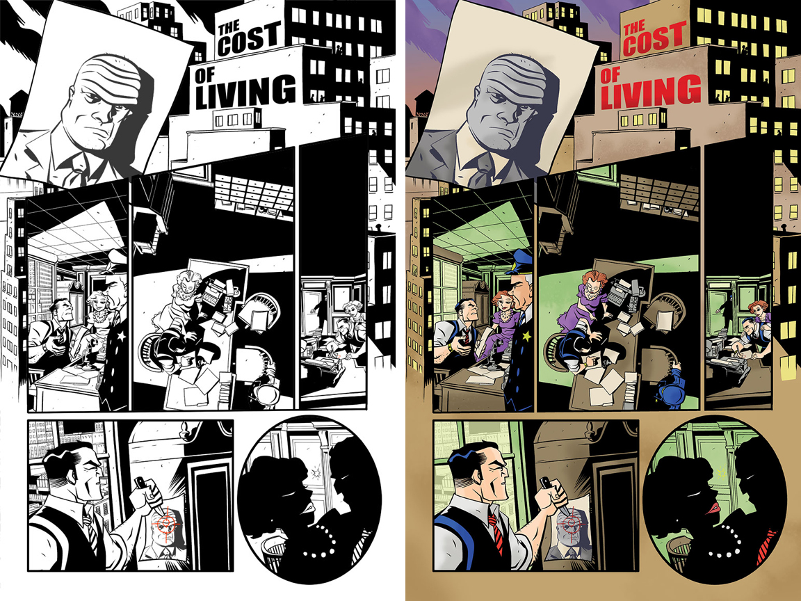 Dick Tracy Forever #1 page 1. Inked version and with Taki Soma's colors.
