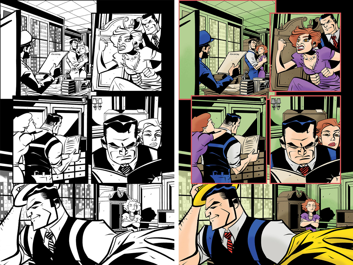 Dick Tracy Forever #1 page 2. Inked version and with Taki Soma's colors.