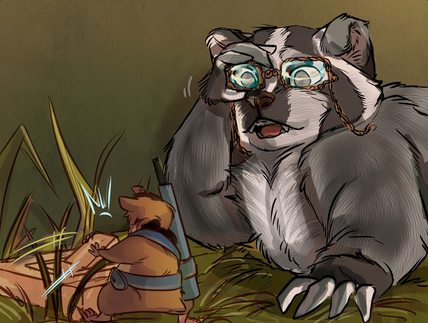 Yes, a badger with glasses