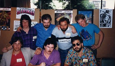 Bottom L to R: Gary Kwapisz, Tim Harkins, Chuck Dixon. Top L To R: Tom Lyle, Tim Truman, Beau Smith, John K. Snyder III