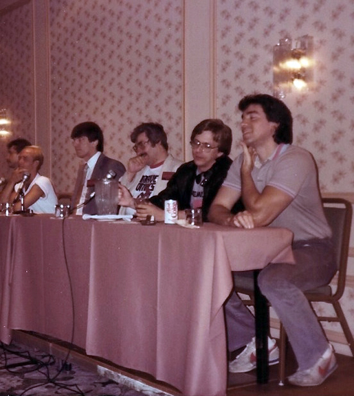 Chicago Comic Con. Early 80's Marvel Panel: L to R Bill Sienkiewicz, Jim Shooter, Tom DeFalco, Ron Frenz, Marc Silvestri