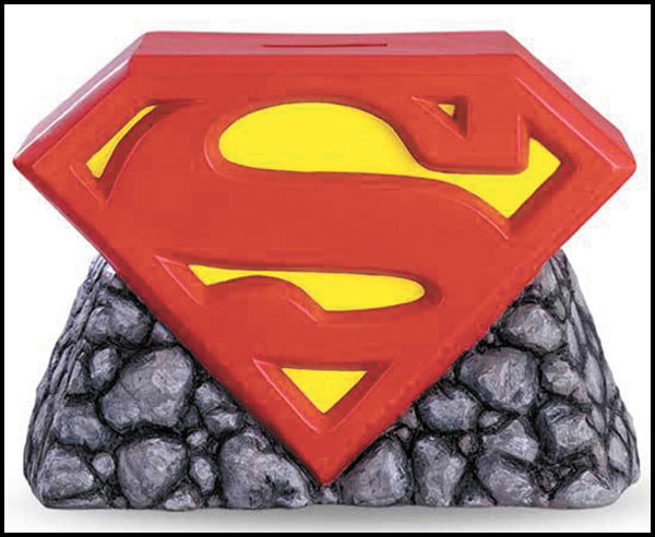 Image: Superman Plastic Bank: Logo with Rocks  -