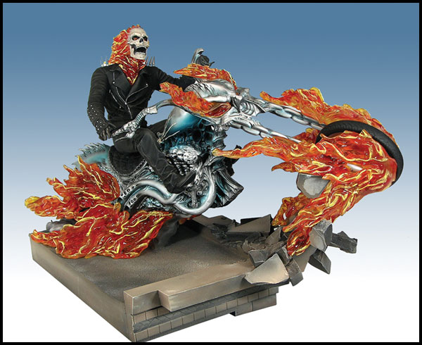 Image: Ghost Rider on Building Movie Statue  - Marvel Comics