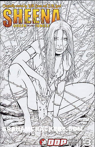 Image: Sheena Queen of the Jungle #3 (Black and White incentive cover) - Devils Due Publishing