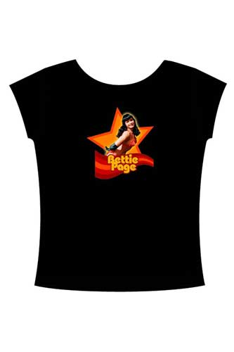 Image: Bettie Page in Orange Black T-Shirt  (M) -