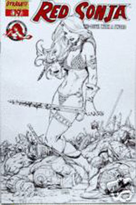 Image: Red Sonja #19 (Chen Black & White Sketch cover) - D. E./Dynamite Entertainment