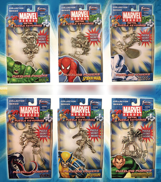 Image: Marvel Metal Puzzle Keychains 6 -Count Asst  -