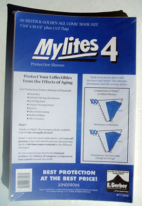 Image: Mylites4 Sleeves: Silver / Golden Age Size  (7-3/4x10-3/4) (50) -