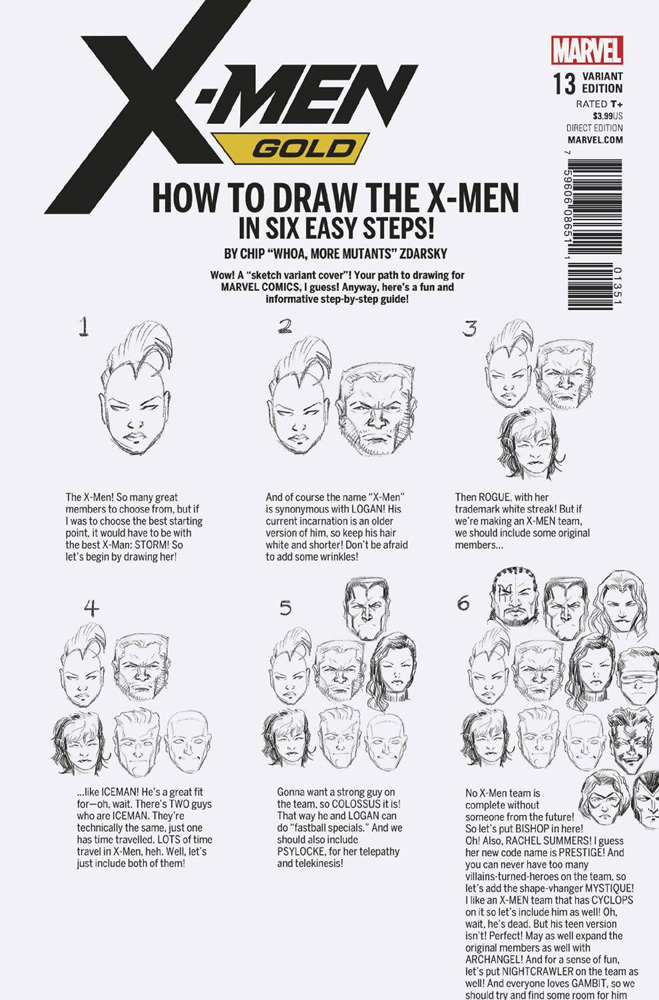 Image: X-Men Gold #13 (Legacy) (variant cover - Zdarsky How to Draw)  [2017] - Marvel Comics