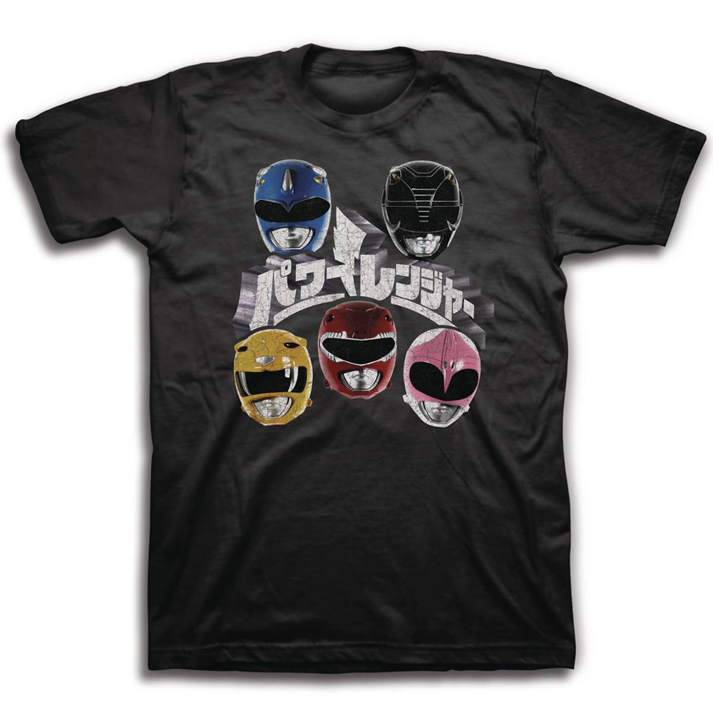 Image: Mighty Morphin Power Rangers T-Shirt: Japanese Logo and Helmets [Black]  (L) - Freeze Cmi