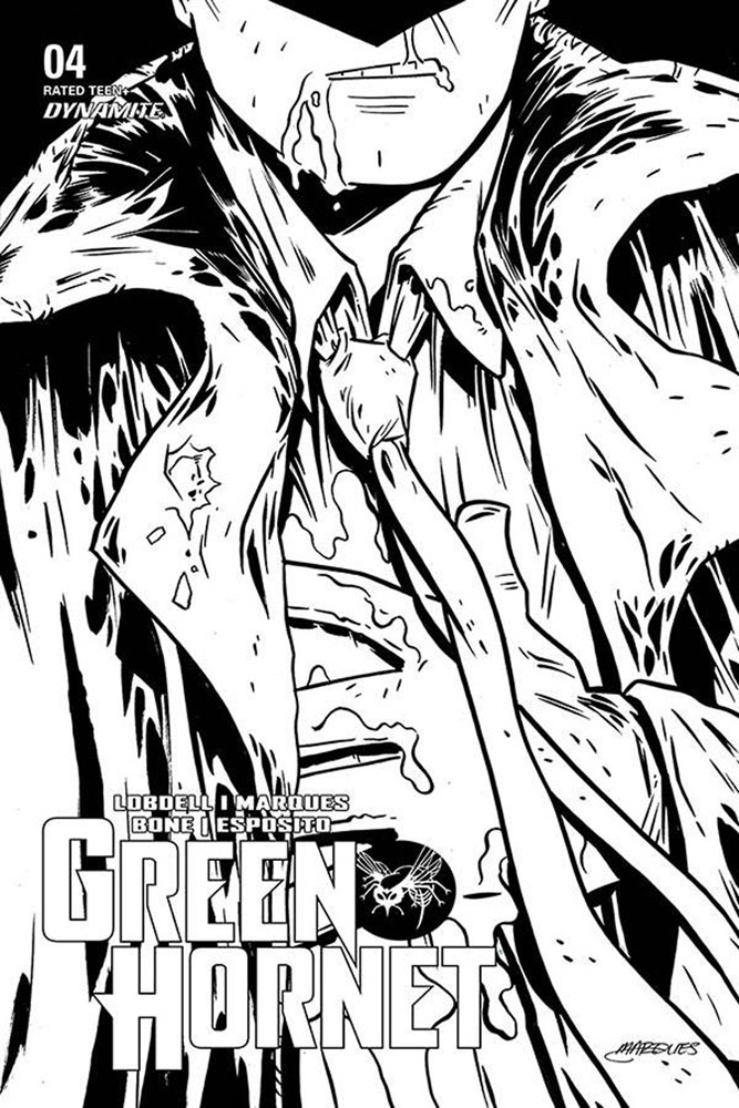 Image: Green Hornet Vol. 03 #4 (incentive 1:10 cover - Marques B&W)  [2020] - Dynamite