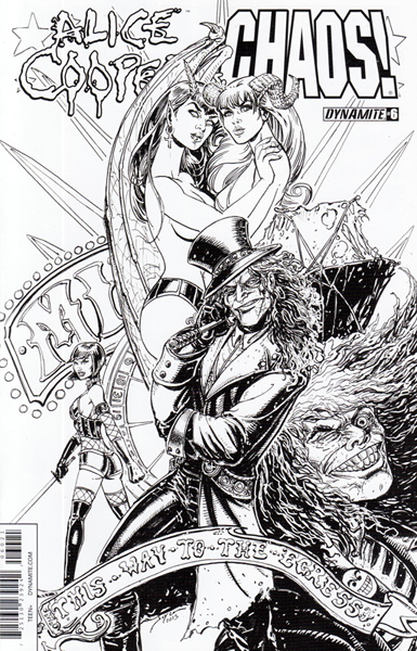 Image: Alice Cooper vs. Chaos! #6 (incentive cover B - B&W) (15-copy) - Dynamite