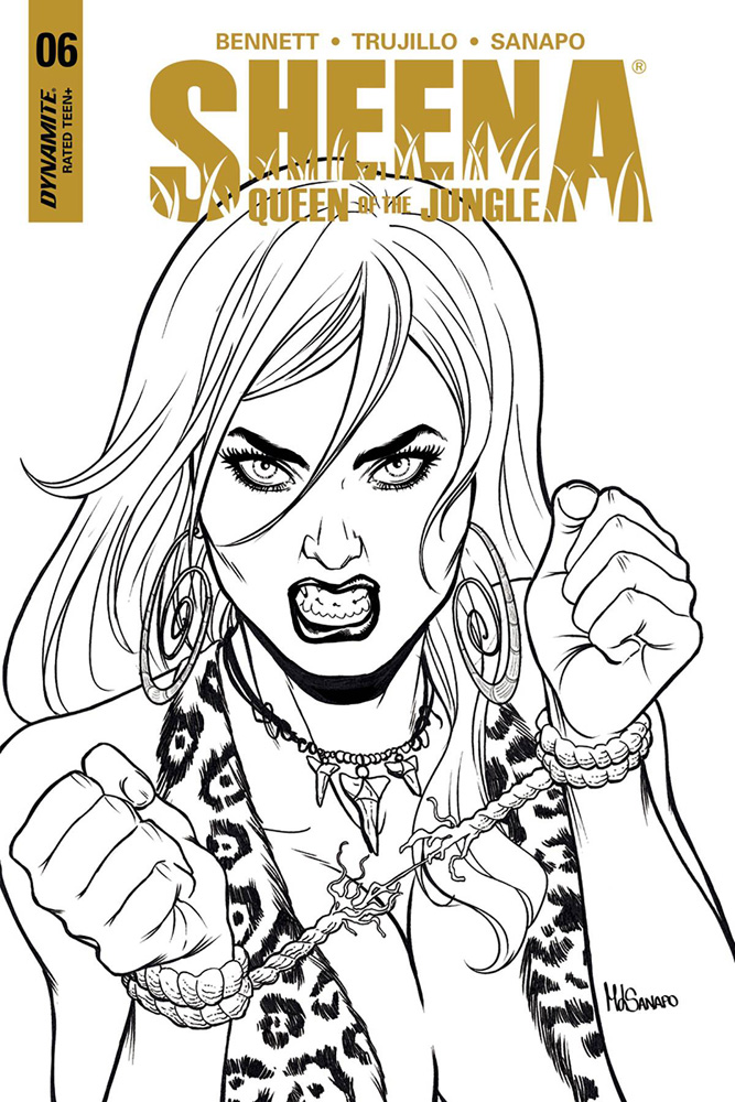 Image: Sheena #6 (cover E incentive - Sanapo B&W) (10-copy)  [2018] - Dynamite