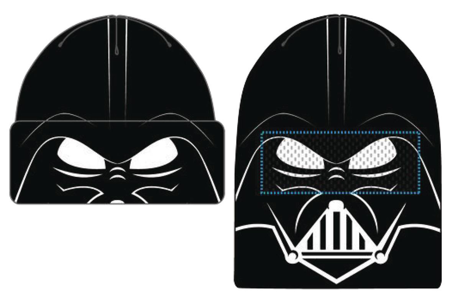 Image: Star Wars Face Flip Knit Mesh Beanie: Darth Vader  - Concept One Accessories