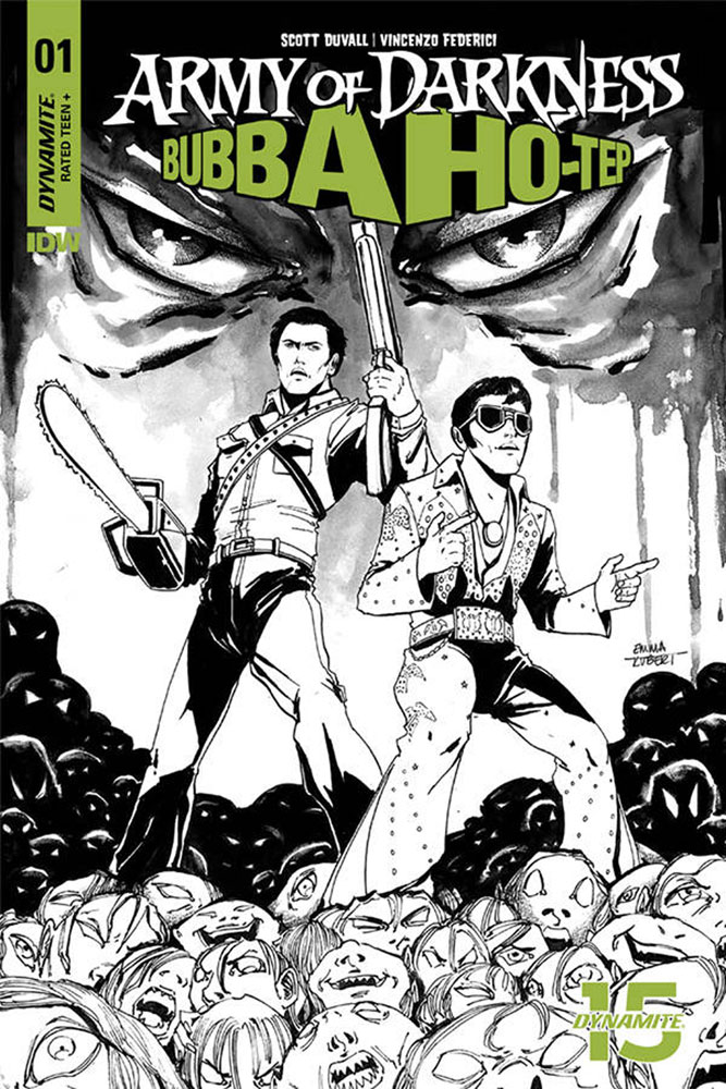 Image: Army of Darkness / Bubba Ho-Tep #1 (incentive cover - Emma Kubert B&W) (20-copy)  [2019] - Dynamite