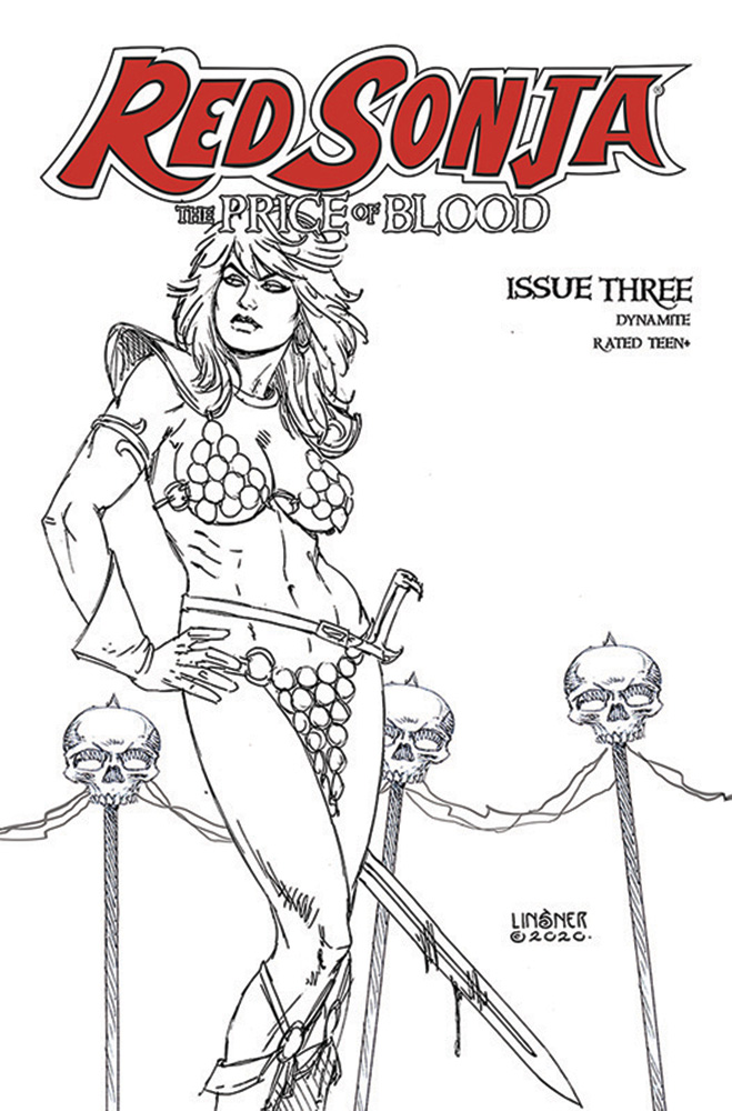 Image: Red Sonja: Price of Blood #3 (incentive 1:30 cover - Linsner B&W) - Dynamite