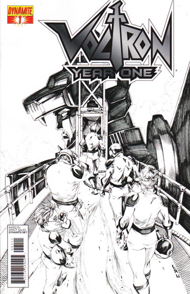 Image: Voltron: Year One #1 (10-copy Lau B&W incentive cover) (v10) - D. E./Dynamite Entertainment