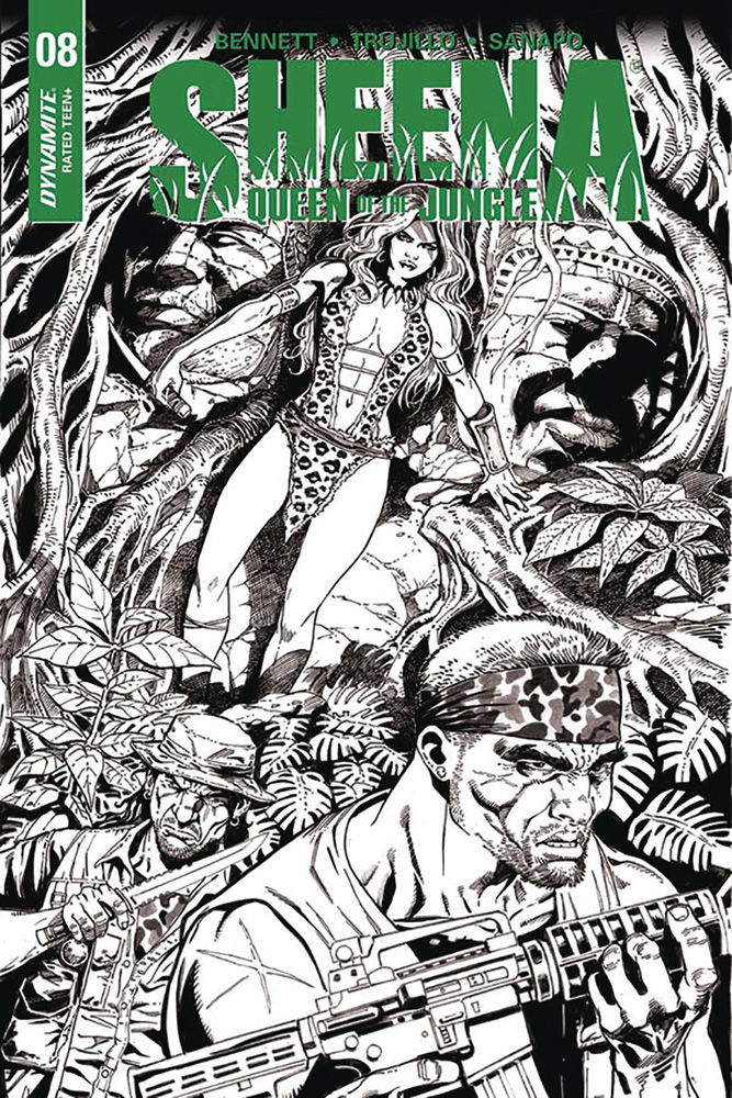Image: Sheena: Queen of the Jungle #8 (cover F incentive - Duursema B&W) (20-copy) - Dynamite