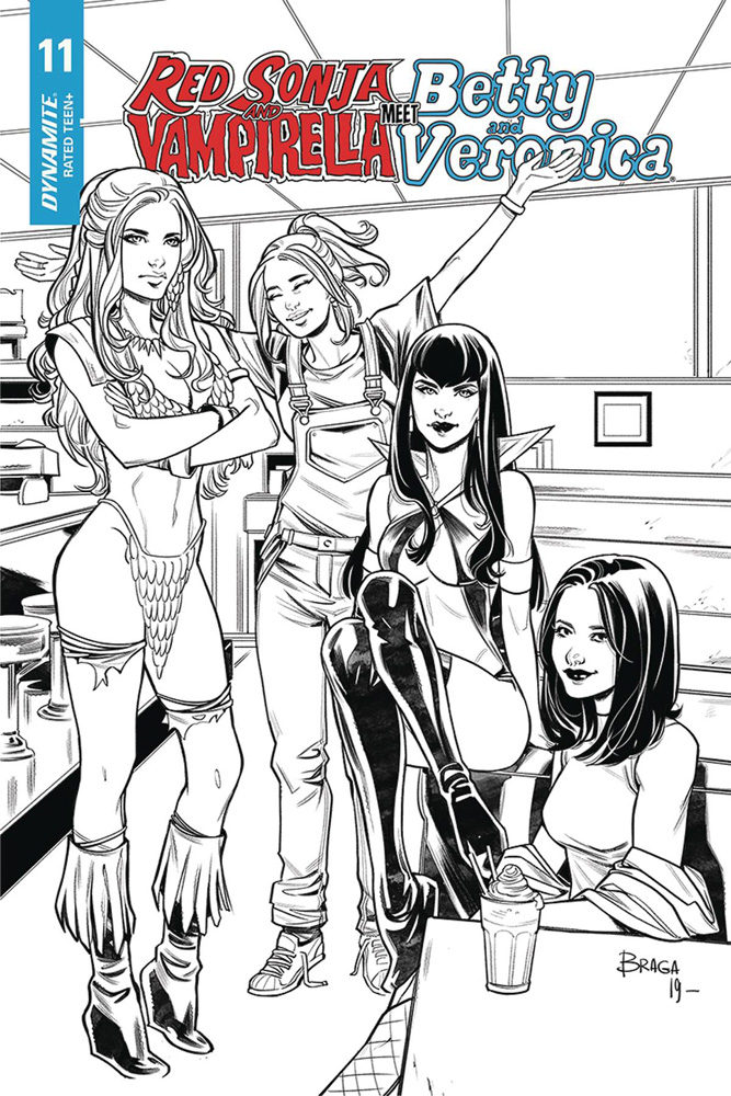 Image: Red Sonja and Vampirella Meet Betty and Veronica #11 (incentive 1:20 cover - Braga B&W)  [2020] - Dynamite