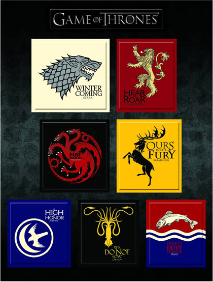 Image: Game of Thrones Magnet Set: House Sigils  - Dark Horse