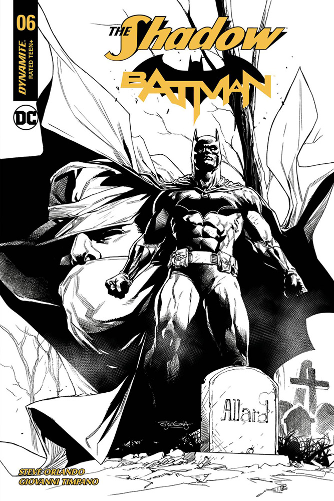 Image: Shadow / Batman #6 (cover J incentive - Segovia B&W) (50-copy)  [2018] - Dynamite