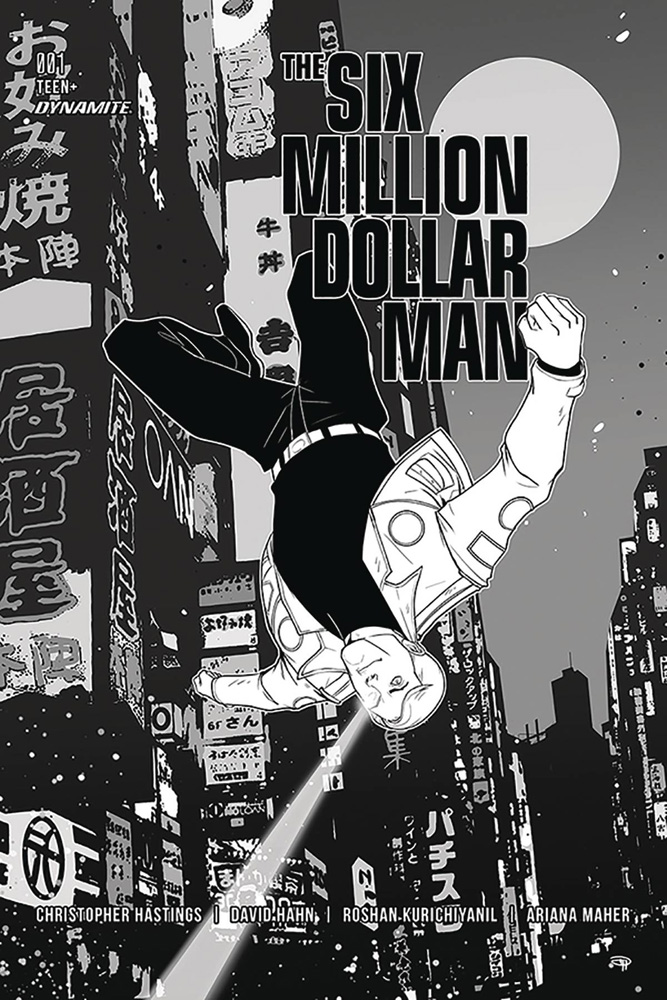 Image: Six Million Dollar Man #1 (incentive cover - Medri B&W) (50-copy)  [2019] - Dynamite