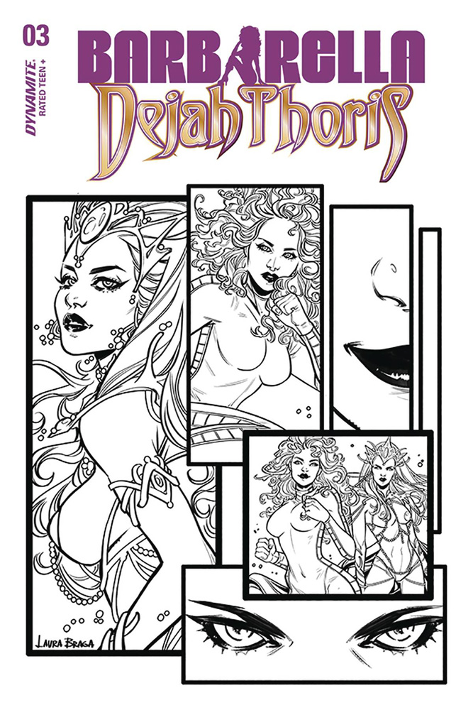 Image: Barbarella / Dejah Thoris #3 (incentive cover - Braga B&W) (30-copy)  [2019] - Dynamite