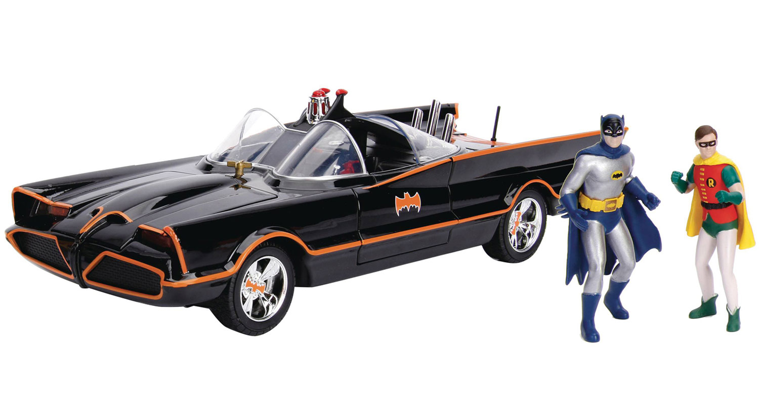Image: Metals Batmobile Vehicle With Figure: Batman Classic TV Series  (1/18 Scale) -