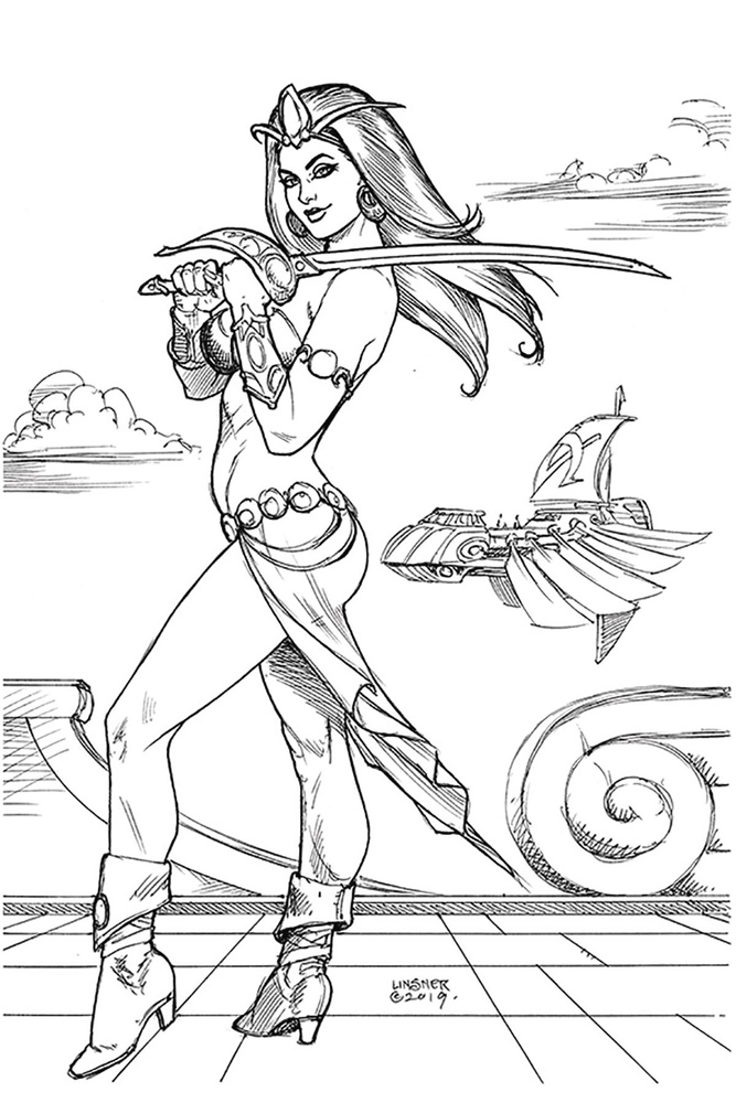 Image: Dejah Thoris Vol. 03 #4 (incentive 1:40 cover - Linsner B&W virgin)  [2020] - Dynamite